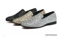Mens Sequin Dress Formal Shoes Slip on Loafers Silver Sequin Leisure Shoes Show