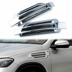 Universal Silver Air Flow Intake Vent Fender Side Exterior Grille Decor Sticker