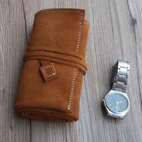 3 pouch bag Unisex Vintage Soft Genuine Cow Leather Travel Watch Case organiser