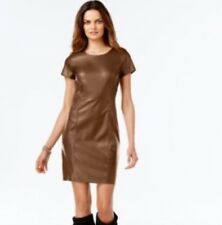 Inc International Concepts Brown Vegan Leather Shift Dress 0