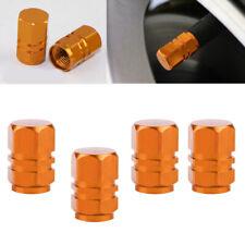 4x Orange Aluminum Alloy Car Valve Cap Tire Rim Wheel Valve Stem Dust Caps Cover