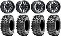 "Raceline Trophy 14"" Black Wheels 32"" Rampage Tires Can-Am Commander Maverick"