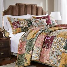 BEAUTIFUL FLORAL VINTAGE RED GREEN BLUE GLOBAL BOHEMIAN QUILT SET KING OR QUEEN