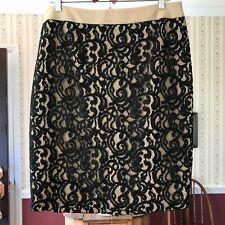 NEW Loft Ann Taylor Straight Skirt Black Lace Overlay Beige Lining Curvy 12