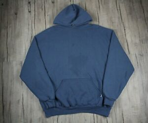 Vintage 90s Russell Athletic Blank Blue Hoodie Size 2XL