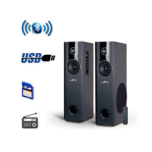 2.1CH BLUETOOTH POWERED TOWER SPEAKERS FM RADIO USB MP3 PLAYER SPEAKER SYSTEM