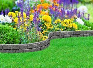 Primeur 1.2M Ultra Curve Rubber Garden Lawn Border Edging 9cm Brick Effect Grey