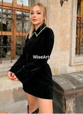 Zara New Black Velvet Jewels Dress Size S Uk 8