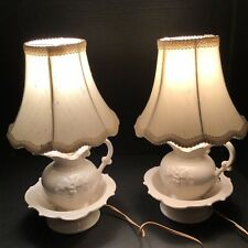 Vintage Ceramic Pitcher & Wash Basin Bowl Table Lamps With Shades. One Pair