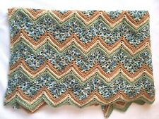 "Crocheted Ripple Zig Zag Afghan Lap Blanket Throw Blue Green Brown 74"" x 44"""