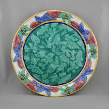 Fitz & Floyd Charger Large Plate Majolica Embossed Colorful Floral Fruit 1995