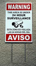 Security Video Surveillance Warning 24 Hr Sign 12x18 Spanish English w/Stake