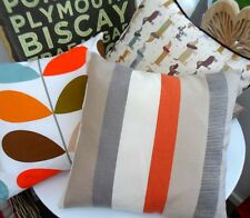 CUSHION COVER PURITAN STRIPE GREY CLEMENTINE ORANGE MANDARIN RETRO DECKCHAIR GEO