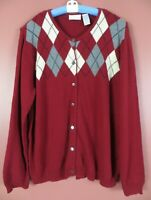 SC000890-LIZ CLAIBORNE Women's 100% Cotton Cardigan Sweater Multicolor Argyle XL