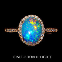 Unheated Oval Fire Opal Rainbow Full Flash 9x7mm Cz 925 Sterling Silver Ring