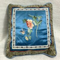 Vintage Cinese Ricamo Cuscino Piccolo Cuscino Blu Seta Farfalle Fiori