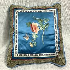 More details for vintage chinese embroidery cushion small pillow blue silk butterflies flowers