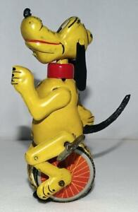 "EX! DISNEY 1950's PLUTO TIN LITHOGRAPHED ""UNICYCLIST"" LINEMAR WIND-UP TOY+LABEL!"