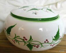 """Ceramic Round Box / Lid Portugal Hand Painted Signed 6"""" Diameter Vines / Berrys"""