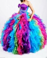 Rainbow Quinceanera Dresses Long Party Prom Pageant Formal Evening Gowns Custom