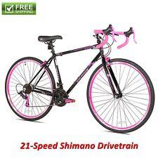 Women Road Bike 700C Black Pink Steel Frame Fitness Bicycle 21 Speed Shimano New