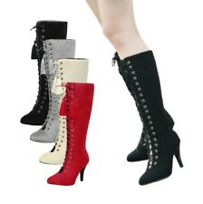 Roman Women's Fashion Suede Fabric Knee High Boots Pointy Toe 9cm Heel Shoes D