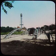 Glass Magic Lantern Slide PARK BRIDGE TO BATH ISLAND C1890 PHOTO NIAGARA FALLS