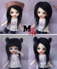 """3-4"""" 9-10cm BJD fabric fur wig Black for AE PukiFee lati 1/12 Doll"""