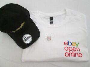 2021 eBay Open Online T-shirt (White 2XL) Cap Hat (Black Adjustable) Pin ¾ NEW