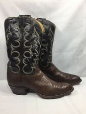 TONY LAMA 8012 Lizard Leather Cowboy Western Boots Brown 7 Stitch Men's 12 B
