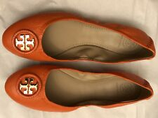 Tory Burch Allie Wrapped Logo Ballet Flats Shoes Mango Orange Size 8