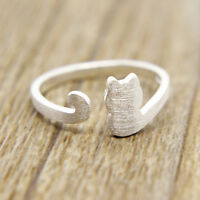 Frauen Matt Katze Ringe Cat Ringe Silber Kätzchen Katzenring Offener Fingerring