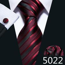 UK Mens Ties Red Burgundy Black Multi Pailsey Solid Striped Silk Necktie Set