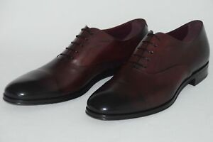 HUGO BOSS Tailored Business Shoes, Size 44 / US 11, Made in Italy, Dark Red