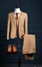 Mens Brown 3 Piece Herringbone Tweed Suit Vintage Retro Slim Fit Smart Formal