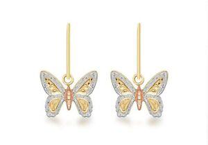 9ct Yellow, White, Rose Gold Butterfly Earrings Drop / Dangle Earrings