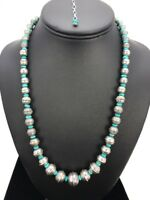 Stamp Bench Navajo Pearls Graduated Sterling Silver Turquoise Bead Necklace 22""