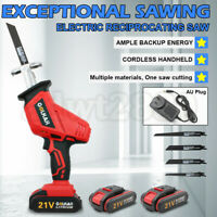 21V Cordless Rechargeable Reciprocating Saw Set Battery & AU Charger & 4pc Blade