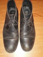STAFFORD Black Leather Cap Toe Chukka Ankle Boots Mens Size 10.5 Lace up