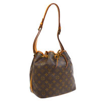 LOUIS VUITTON PETIT NOE DRAWSTRING SHOULDER BAG MONOGRAM M42226 AR0990 33625