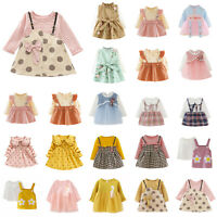 Baby Girls Skirt Kids Long Sleeve Dress Spring//Fall Daily Party Infant Dresses
