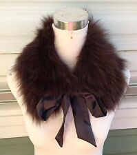 dark brown real genuine fox fur pelt collar scarf satin lining coat jacket