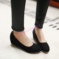 Sh Womens Pumps Round toe Hidden Wedge Heel Flats Slip on Plus size Vogue shoes