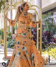 Johanna Ortiz X H&M Talla 8 36 Amarillo Floral Vestido Con Bufanda blogger Cuello Nuevo