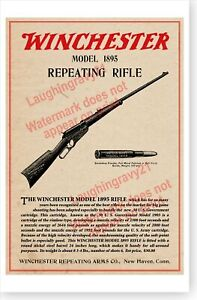 Winchester Model 1895 Repeating Rifle Retro Advertising Poster