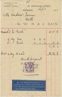 2409 GLASGOW, 65, Waterloo Street, W.B. & J. Bain – 1898 RARE EARLY LABEL USAGE