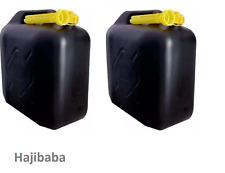 2 X 20L BLACK PLASTIC FUEL JERRY CAN PETROL DIESEL WITH SPOUT WATER 20 LITRE