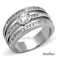 BEAUTIFUL ROUND CUT CZ STAINLESS STEEL WIDE BAND ENGAGEMENT RING WOMEN'S SZ 5-10