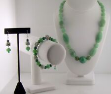 GREEN AVENTURINE NECKLACE BRACELET EARRING SET GENUINE NATURAL PRE-OWNED EUC