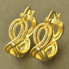 Chic Design 9K Yellow Gold Filled Crystal Womens Hoop Earrings,Z5272